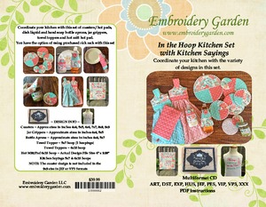 Embroidery Garden In the Hoop Kitchen Set with Kitchen Sayings Embroidery Designs on CD