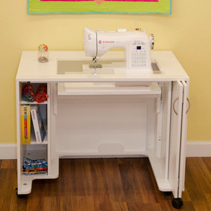 "Arrow Mod Sewing Machine Cabinet 38.5x23x30""H, Air Lift Platform 24x12.75"" Opening, White Only"