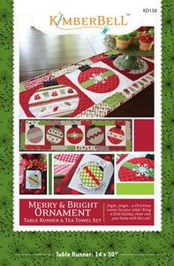 79293: KimberBell Designs KD158 Merry and Bright Table Runner and Tea Towel Set