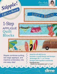 DIME, STP0115, Stipple, Life, A, Beach, 1, Step, Applique, Quilt, Block