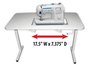 "Sullivans 12889 Portable Folding Sewing Table 40x20x28.5""H, Machine Opening 17.5x7.375"" for Flatbed Position, Limited Insert Fitting Capability*"