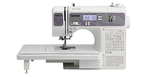 "Brother, RSM8270,FS 160/270 Stitch, Computer Sewing Machine, LCD, 8x1-Step Buttonholes, 2 Fonts, 13 Feet Walking, 1/4"", Free Motion, Extension Table, Case"