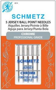 Schmetz, S-4014, Chrome, Professional, Grade, Jersey, Ball, Point, 5, pack, 130, 705, H, SUK, Size, 80, 12, strong, durable