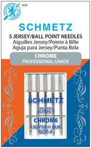 Schmetz, S-4026, Chrome, Professional, Grade, Jersey, Ball, Point, 5, pack, 130, 705, H, SUK, Size, 90, 14, strong, durable