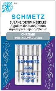 Schmetz S-4012 Chrome Plated Professional Grade Denim Jeans Needles 5pk 130/705H Size 100/16 Universal Point