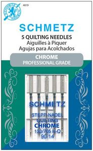 Schmetz, S-4019, Chrome, Professional, Grade, Quilting, 5, pack, 130, 705, H, Q, Size, 90, 14, strong, durable
