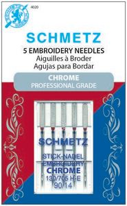 Schmetz, S-4020, Chrome, Professional, Grade, Embroidery, 5, pack, 130, 705, H, E, Size, 90, 14, strong, durable