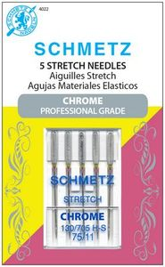 Schmetz, S-4022, Chrome, Professional, Grade, Stretch, 5, pack, 130, 705, H, S, Size, 75, 11, strong, durable