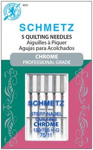 Schmetz, S-4035, Chrome, Professional, Grade, Quilting, 5, pack, 130, 705, H, Q, Size, 75, 11, strong, durable