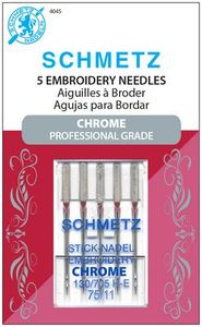 Schmetz, S-4045, Chrome, Professional, Grade, Embroidery, 5, pack, 130, 705, H, E, Size, 75, 11, strong, durable