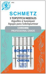 Schmetz, S-4092, Chrome, Professional, Grade, Top, stitch, 5, pack, 130, N, Size, 80, 12, strong, durable