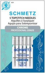 Schmetz, S-4093, Chrome, Professional, Grade, Top, stitch, 5, pack, 130, N, Size, 90, 14, strong, durable