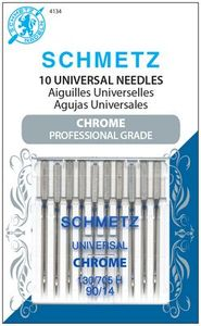 Schmetz S-4134 Chrome Professional Grade Universal Sewing Machine Needles, 10pk 130/705H Size 90/14