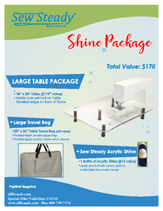 "80109: Sew Steady SST-Large Shine Large Table Package 18"" X 24"""