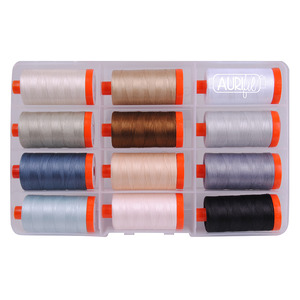 Aurifil CW50PQN12 Piece & Quilt Collection: Neutrals by Christa Watson Quilts, 12 Large Spools of 50wt Cotton Thread