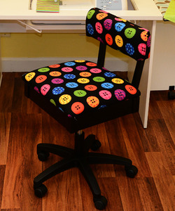 Arrow Hydraulic Chair with Riley Blake Multi Color Buttons Fabric on Blacknohtin