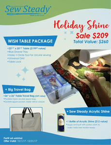 """Sew Steady SST- Holiday Shine 22.5x25.5"""" Wish Portable Sewing Machine Extension Table Package +26x26"""" Travel Bag"""