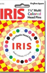 "03634631705 , 036346317052, Schmetz 1705 IRIS Multi Colored Head 1-1/2"" Straight Pins 24 Count"