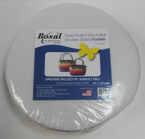 "Bosal BOS4252-20 Duet II Double Sided Fusible Battting 2-1/4"" x 20 Yard Roll"