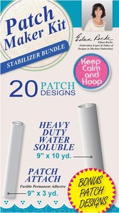 DIME PMK0010 Patch Maker Kit Stabilizer Bundle 20 Patch Designs CD, 10Yards Heavy Duty Water Soluble Stabilizer +3 Yards Patch Attach Fusible Adhesive