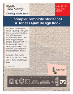 Westalee Wf-RFTST Ruler Work Starter Set: Ruler Foot and 7 Templates +Bonus Janet Collins 51 Page eBook CD of Designs