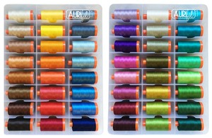 Aurifil CP50DC48 Dotalicious Cotton Quilting Thread Collection by Claudia Pfeil, 48 Large Spools x 1095 Yards, 50wt Valigia