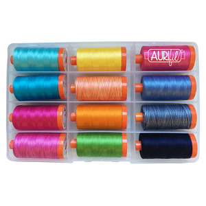 Aurifil PF50FF12 Fifi & Fido Thread Collection by Kathy Engle, 12x1422 Yards of 50wt Cotton Mako Large Spools