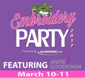 "event, party, class, meeting, Anita, Goodesign, 2, two, Day, ""Its A Party"", Embroidery, Applique, Lace, Cut, work, In, The, Hoop, Quilting, Friday, Saturday, March, 10, 11, Sulphur, LA"