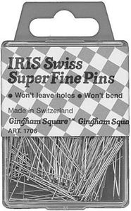 "Iris 1706 Super Fine Straight Pins 1-1/2"" 500 Count in Klip Klap Tin"