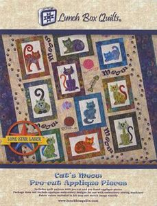 Lunch Box Quilts LBCATSMEOW Lunch Box Cats Meow Pre-Cut Pre-Fused
