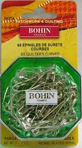 Bohin 50374 Quilter's Curved Safety Pins No.2, 65ct, 1 Box of 65