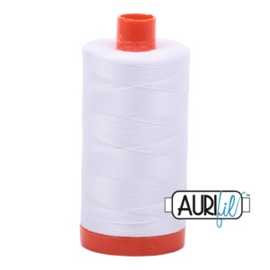 59172: Aurifil MK50SC6-2024 White Cotton Mako Thread 50wt 1422 Yard Spool