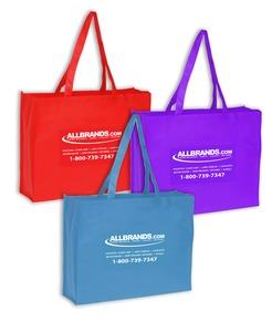 """Allbrands Event Bags 20x6x16in, 28"""" Handle, White Silkscreen Logo, Non-Woven Polypropylene Material"""