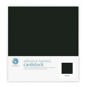 "Silhouette Cardstock-Blk Black Adhesive Backed Cardstock 12x12"" 25 pk"