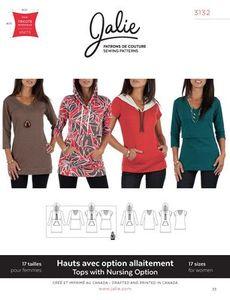 Jalie Patterns JAL3132 Nursing Option Tee and Hoodie Sewing Patterns