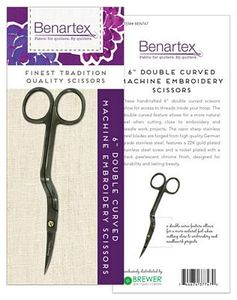 Benartex BEN747 6 inch Double Curved Scissors for Machine Embroidery or Free Motion Quilting