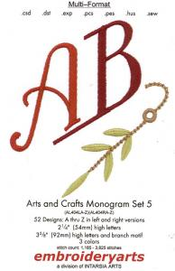 Embroidert Arts Arts and Crafts Monogram Set 5 Disk