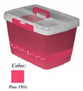 84222: MR4608PINK Hemline Sewing Box w/ Bobbin Holder. Pink color PMS 191C