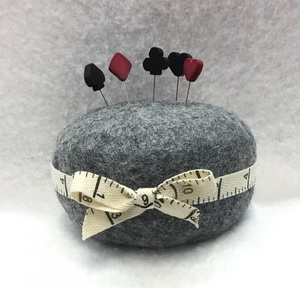 "Wooly Wonders WFPC 100% Wool Felted Pin Cushion 4.5x2.5"", Twill Measuring Ribbon , Add your own Pins"
