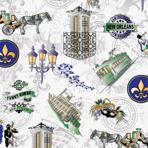 Fabric Finders FF2096 New Orleans 300th Anniversary Fabric by the Yard