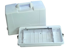 PD60, # 60218, Hard White Plastic, Full Size, Carrying Case, Handle & Hinges for Singer 3/4 Size Spartan, & 185,  Flatbed, Straight Stitch, Sewing Machines