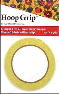 "Hoop Grip 75-214 Rubber Tape 1/4"" x 9 Yards Package, Designed for all Embroidery Hoops, to Keep Fabric from Slipping, Will not Slip!"