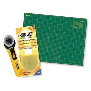"85753: Olfa Cutting Combo RM-SG 18x24"" Inch Rotary Cutting Mat , Cutter, and Blades"