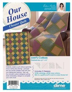 """86454: DIME SHQCC008 Our House Cheater Quilt 51 1/2x70"""" 100% Cotton"""