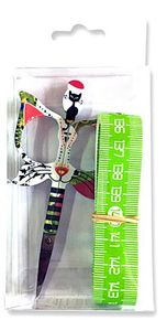 Bohin BH98574 1 Cat Scissor & 60in Tape Measure Green