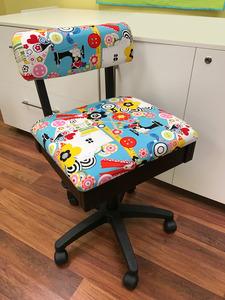 "87477: Arrow H6880 Hydraulic Chair, Underseat Storage, Alexander Henry ""Sew Now, Sew Wow"" fabric"