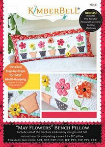 KimberBell KD521 May Flowers Bench Pillow ME CD