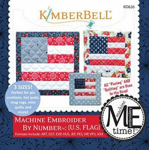 KimberBell KD626 Machine Embroider by Number: U.S. Flag ME CD