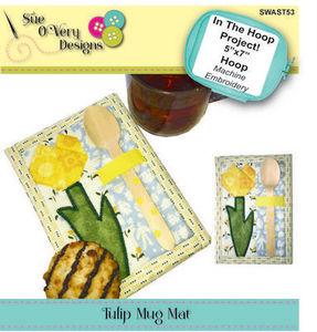 87886: Sue O'Very Designs SWAST53 ITH Tulip Paper Piece Mug Rug
