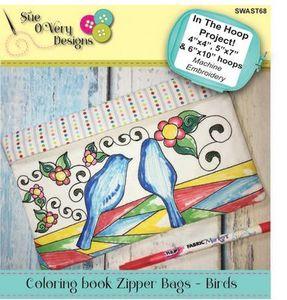 SWAST68 Coloring book Zipper Bags - Birds